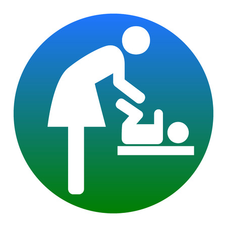Symbol for women and baby, baby changing. Vector. White icon in bluish circle on white background. Isolated.