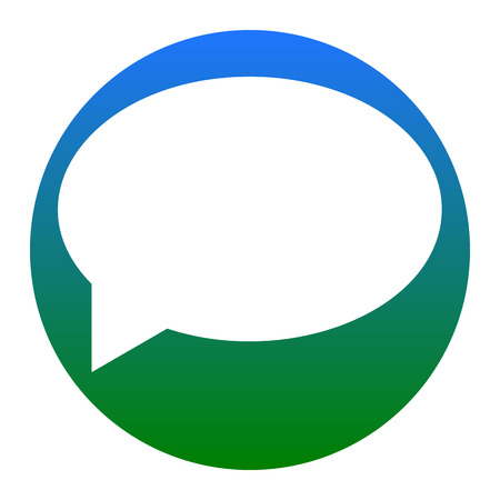 Icono de la burbuja del discurso Vector. Icono blanco en círculo azulado en el fondo blanco. Aislado.