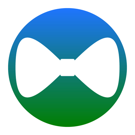 Bow Tie icon. Vector. White icon in bluish circle on white background. Isolated.