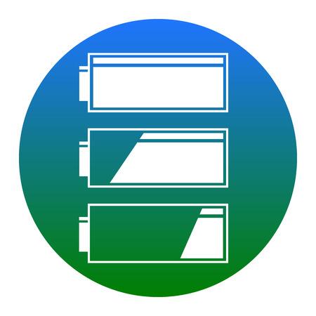 Set of battery charge level indicators. Vector. White icon in bluish circle on white background. Isolated. Illustration