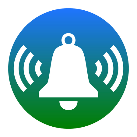 metallic button: Ringing bell icon. Vector. White icon in bluish circle on white background. Isolated.