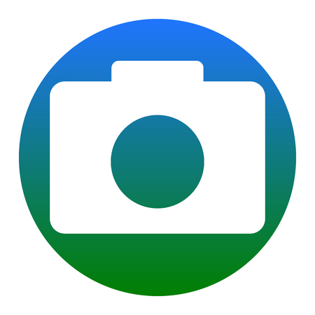 Digital camera sign. Vector. White icon in bluish circle on white background. Isolated.