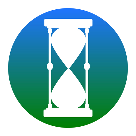 Hourglass sign illustration. Vector. White icon in bluish circle on white background. Isolated. Illustration