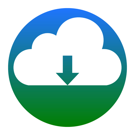 Cloud technology sign. Vector. White icon in bluish circle on white background. Isolated.