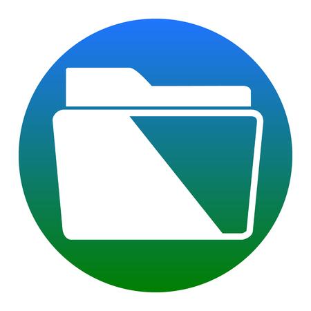 Folder sign illustration. Vector. White icon in bluish circle on white background. Isolated. Illustration