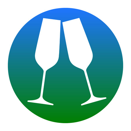 Sparkling champagne glasses. Vector. White icon in bluish circle on white background. Isolated.