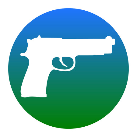 Gun sign illustration. Vector. White icon in bluish circle on white background. Isolated.