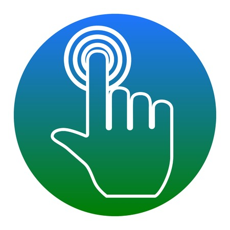 hit tech: Hand click on button. Vector. White icon in bluish circle on white background. Isolated.
