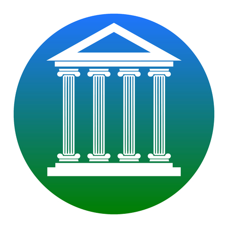 derecho romano: Historical building illustration. Vector. White icon in bluish circle on white background. Isolated.