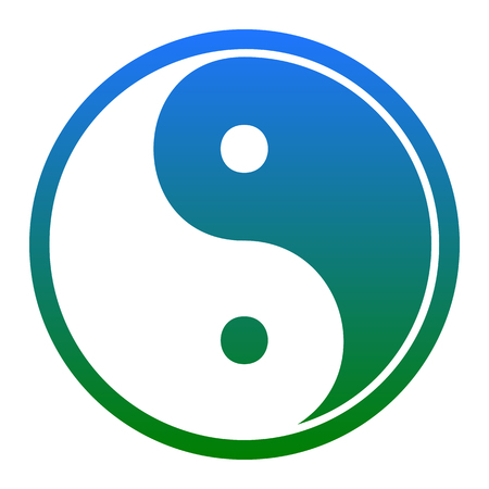 yin y yan: Ying yang symbol of harmony and balance. Vector. White icon in bluish circle on white background. Isolated.