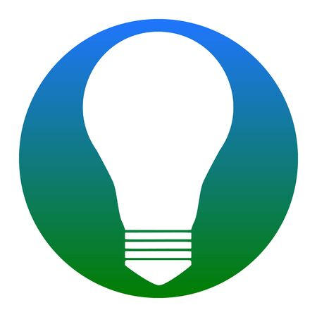 Light lamp sign. Vector. White icon in bluish circle on white background. Isolated.