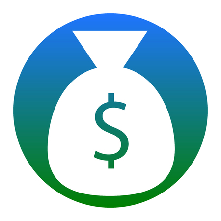 Money bag sign illustration. Vector. White icon in bluish circle on white background. Isolated.