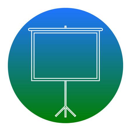 Leeg projectiescherm. Vector. Wit pictogram in blauwachtige cirkel op witte achtergrond. Geïsoleerd.