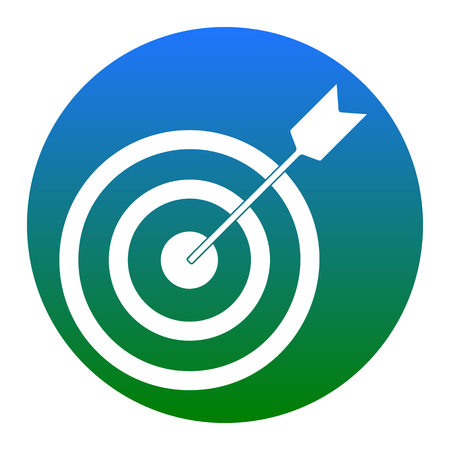 Target with dart. Vector. White icon in bluish circle on white background. Isolated. Illustration