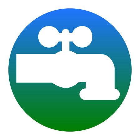spew: Water faucet sign illustration. Vector. White icon in bluish circle on white background. Isolated.