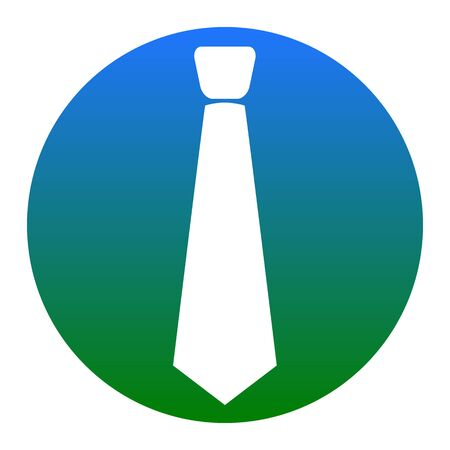 Tie sign illustration. Vector. White icon in bluish circle on white background. Isolated.