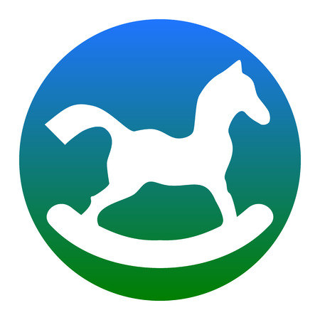 wooden horse: Horse toy sign. Vector. White icon in bluish circle on white background. Isolated.