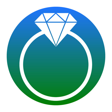 Diamond sign illustration. Vector. White icon in bluish circle on white background. Isolated.