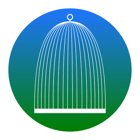 Bird cage sign. Vector. White icon in bluish circle on white background. Isolated.