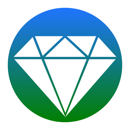 caras emociones: Diamond sign illustration. Vector. White icon in bluish circle on white background. Isolated.
