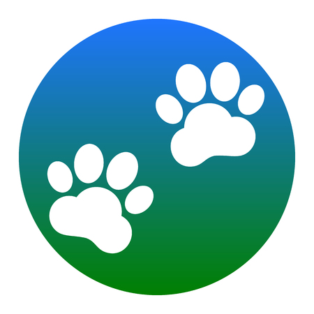 impression: Animal Tracks sign. Vector. White icon in bluish circle on white background. Isolated.