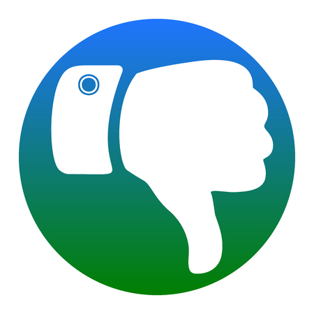 disapprove: Hand sign illustration. Vector. White icon in bluish circle on white background. Isolated.