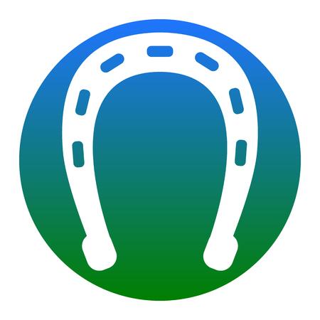 Horseshoe sign illustration. Vector. White icon in bluish circle on white background. Isolated. Illustration
