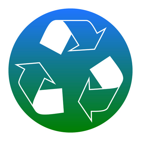 Recycle logo concept. Vector. White icon in bluish circle on white background. Isolated.