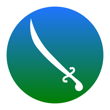 roman soldier: Sword sign illustration. Vector. White icon in bluish circle on white background. Isolated.