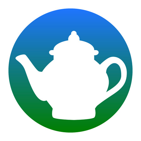 Tea maker sign. Vector. White icon in bluish circle on white background. Isolated. Vectores