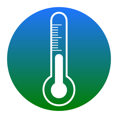 Meteo diagnostic technology thermometer sign. Vector. White icon in bluish circle on white background. Isolated.