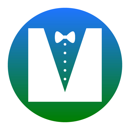 Tuxedo with bow silhouette. Vector. White icon in bluish circle on white background. Isolated.