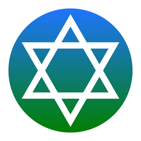 Shield Magen David Star. Symbol of Israel. Vector. White icon in bluish circle on white background. Isolated.