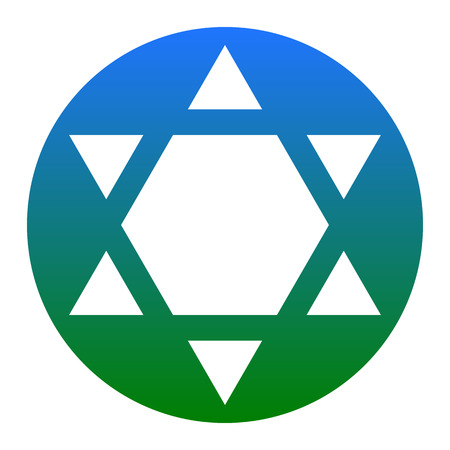 Shield Magen David Star Inverse. Symbol of Israel inverted. Vector. White icon in bluish circle on white background. Isolated.