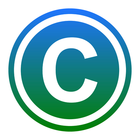Copyright sign illustration. Vector. White icon in bluish circle on white background. Isolated.