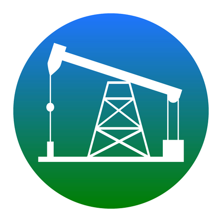 Oil drilling rig sign. Vector. White icon in bluish circle on white background. Isolated.