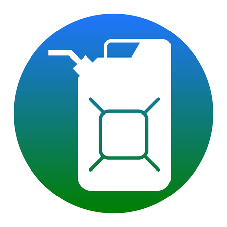 filling station: Jerrycan oil sign. Jerry can oil sign. Vector. White icon in bluish circle on white background. Isolated. Illustration