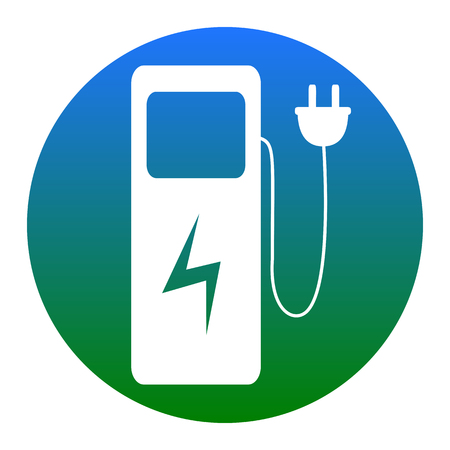 Electric car charging station sign. Vector. White icon in bluish circle on white background. Isolated.
