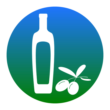 Black olives branch with olive oil bottle sign. Vector. White icon in bluish circle on white background. Isolated. Illustration