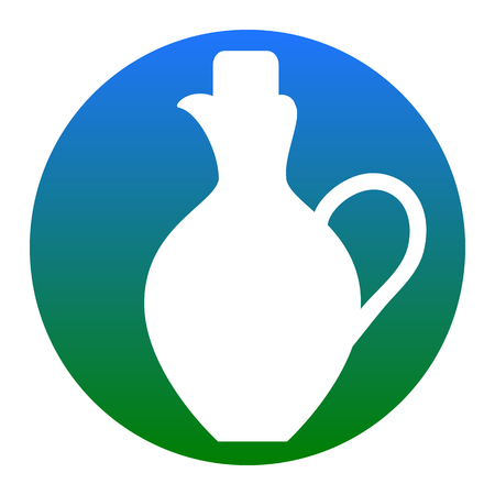 greek pot: Amphora sign illustration. Vector. White icon in bluish circle on white background. Isolated.
