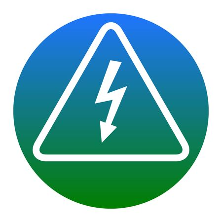 High voltage danger sign. Vector. White icon in bluish circle on white background. Isolated. Illustration