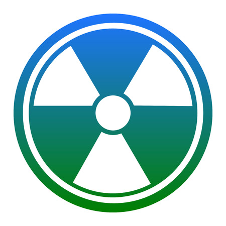 Radiation Round sign. Vector. White icon in bluish circle on white background. Isolated.
