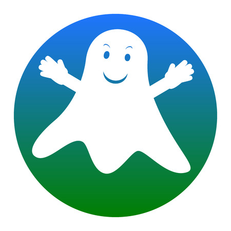 phantom: Ghost isolated sign. Vector. White icon in bluish circle on white background. Isolated. Illustration