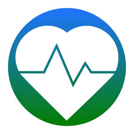 Heartbeat sign illustration. Vector. White icon in bluish circle on white background. Isolated.