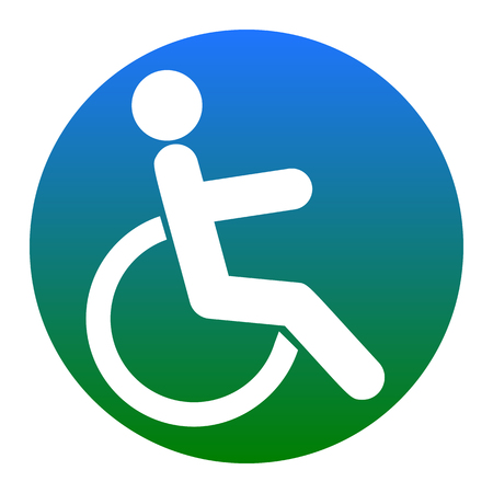 Disabled sign illustration. Vector. White icon in bluish circle on white background. Isolated.