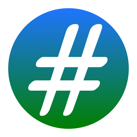 Hashtag sign illustration. Vector. White icon in bluish circle on white background. Isolated.