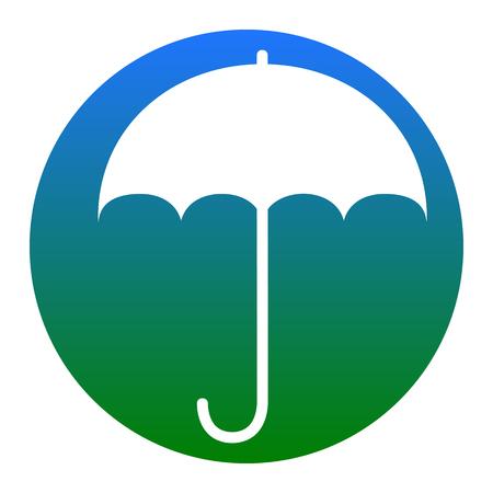 Umbrella sign icon. Rain protection symbol. Flat design style. Vector. White icon in bluish circle on white background. Isolated.