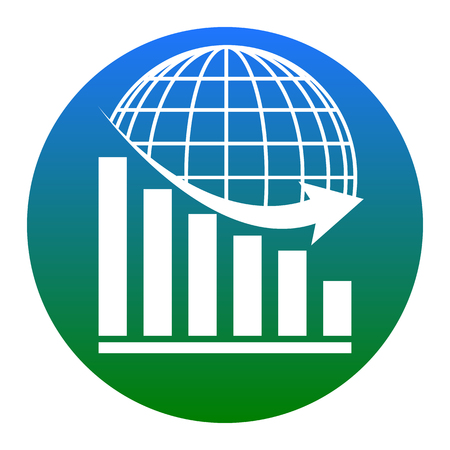 Declining graph with earth. Vector. White icon in bluish circle on white background. Isolated. Illustration