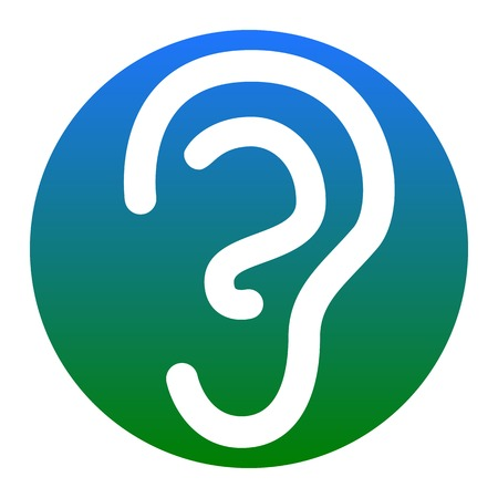 audition: Human ear sign. Vector. White icon in bluish circle on white background. Isolated. Illustration