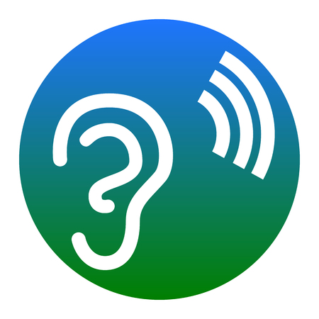 audible: Human ear sign. Vector. White icon in bluish circle on white background. Isolated. Illustration